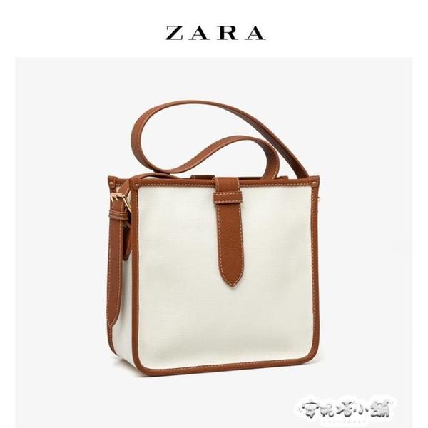 ZARA女包新款牛皮配帆布大容量水桶包休閒寬肩帶單肩托特包包 夏季特惠