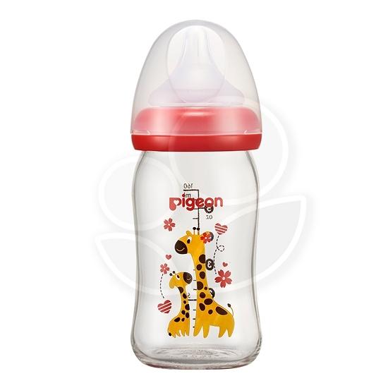 PIGEON 貝親 母乳實感彩繪玻璃奶瓶160ml(長頸鹿)【佳兒園婦幼館】