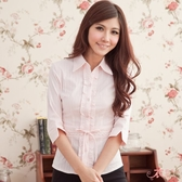 ╭*衣衣夫人OL服飾店*╮【A33639】OL荷葉綁帶條紋七分袖襯衫(粉色)