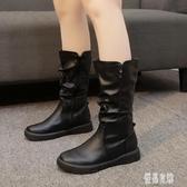 中大尺碼冬季加絨保暖中筒靴英倫時裝靴圓頭中跟平底側拉鏈馬丁靴 XN7840【優品良鋪】