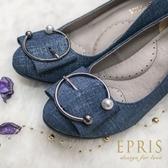 現貨 休閒鞋可彎折90度 折折鞋 丹寧布 21-26 EPRIS艾佩絲-丹寧藍