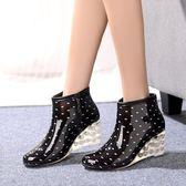 女士短筒雨靴高跟水鞋防滑厚底楔形膠鞋單雨鞋 台北日光