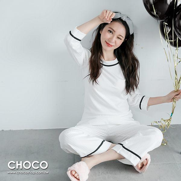 午茶邂逅‧兩件式圓領長袖家居服睡衣(白色) M~XL  Choco Shop