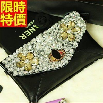 真皮手拿包-高貴氣質亮彩鑽石女信封包2色68k42【巴黎精品】