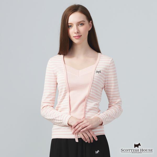 橫條X純色假兩件式設計針織上衣【AE1425】