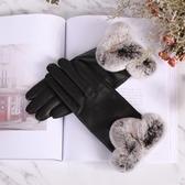 真皮手套-羊皮保暖獺兔毛光面黑色女手套73wf3【巴黎精品】