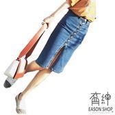 EASON SHOP(GU6914)水洗單寧深藍單排扣正面開衩牛仔裙女過膝裙高腰顯瘦短裙半身包臀裙窄裙純色素色