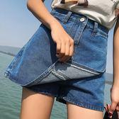 牛仔短褲女韓版寬鬆學生百搭闊腿熱褲a字顯瘦裙褲潮吾本良品