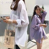 防曬襯衣女士中長款夏季正韓學生超薄透氣寬鬆時尚bf風棉麻開衫 DM