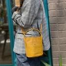 真皮側背包-簡約復古牛皮手提女水桶包4色...