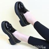 小皮鞋女 秋季小皮鞋女英倫風女鞋新款鞋子韓版百搭厚底鬆糕鞋黑色單鞋 新品