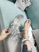 新款女涼鞋學生中跟韓版百搭氣質優雅粗跟鞋夾腳綁帶仙女鞋  凱斯盾數位3C