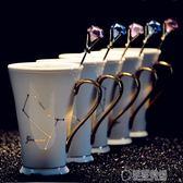 創意十二星座水杯時尚描金貼花骨瓷咖啡馬克杯帶蓋勺陶瓷情侶杯子   草莓妞妞