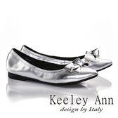 ★零碼出清★Keeley Ann氣質蝴蝶結全真皮OL低跟尖頭包鞋(銀色)-Ann系列
