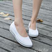 護士鞋護士鞋布鞋白色坡跟女平底帆布鞋黑色院工作鞋軟底小白鞋單鞋  color shop