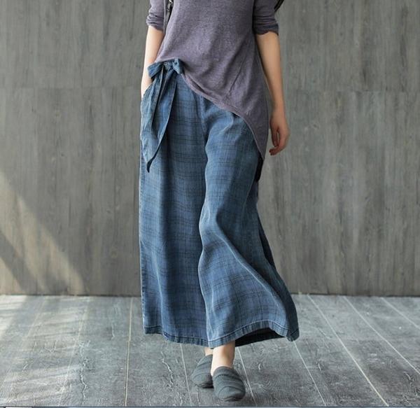 褲子【夏季百搭牛仔格紋綁帶復古休閒牛仔寬褲】