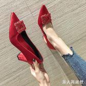 高跟鞋女2019新款韓版百搭婚鞋春季結婚粗跟晚會紅色淺口尖頭單鞋 DR14151【男人與流行】