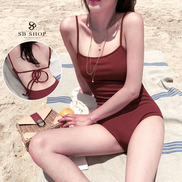 [599免運] 連身泳裝 【微醺愛琴海美背綁帶連身泳裝】 集中 連身泳衣 顯瘦 泳裝 泳衣 B34