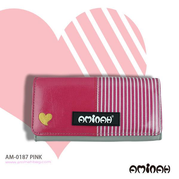 時尚鏡面 愛心條紋 長夾 / 皮夾 / 手拿包 粉紅色 AMINAH~【am-0187】