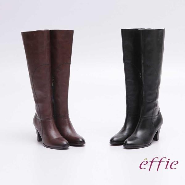 effie 都會風情 全真皮簡約線條及膝高跟長靴 咖啡