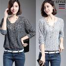 針織衫-寬鬆V領鏤空長袖針織衫