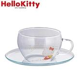 小禮堂 Hello Kitty 日製 玻璃 杯盤組 咖啡杯盤 茶杯 點心盤 YAMAKA陶瓷 (透明 側坐) 4979855-20782