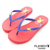 PLAYBOY FUN彩色漾~繽紛色夾腳拖鞋-桔紅