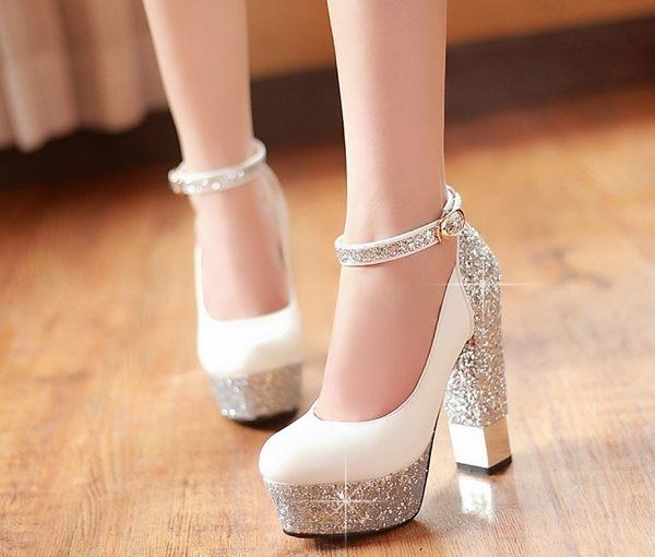 金色婚鞋新娘鞋粗跟婚禮婚紗鞋表演舞臺鞋粗跟防水台超高跟鞋:xuel00345