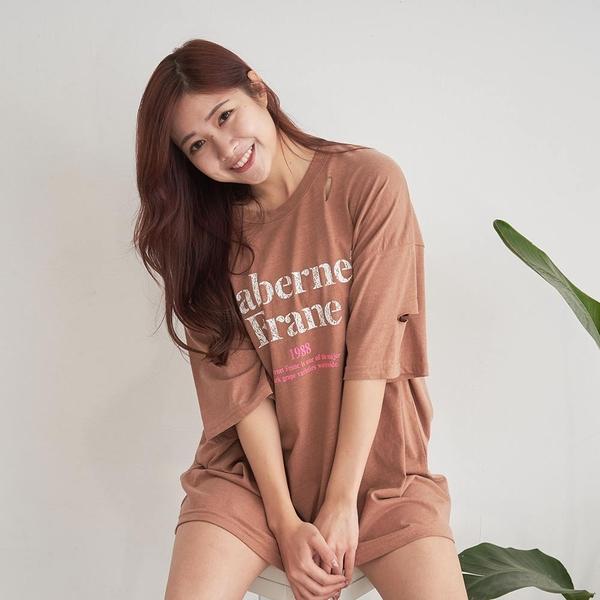 韓國女裝 Cabernet Frane個性撞色破壞短袖T恤 C1081 正韓直送 韓妞必備 百搭顯瘦基本款 阿華有事嗎