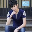 【Y087】shiny藍格子-韓式作風.夏裝簡約印花修身V領短袖T恤