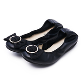 G.Ms. 圓釦蝴蝶結牛皮彎折娃娃鞋-黑色