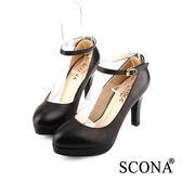 SCONA 全真皮 經典時尚前增高跟鞋 黑色 9934-1