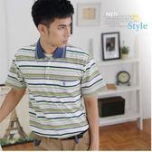 【大盤大】(P08108) 男士 夏 全新 橫條紋POLO衫 台灣製 有領休閒衫 父親節禮物【2XL號斷貨】