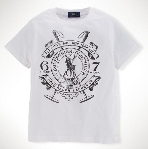 Ralph Lauren Polo短袖上衣 Logo系列馬球具圖案白色設計款短袖T恤 4T (Final sale)