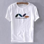 亞麻T恤-樹葉刺繡棉麻透氣短袖男上衣2色73xf39【巴黎精品】