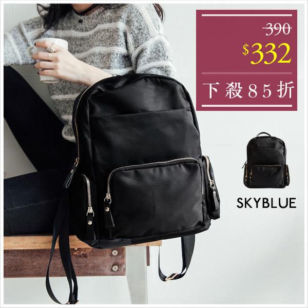 後背包-簡約休閒防潑水尼龍雙層後背包-共1色-A12121122-天藍小舖