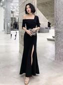 平時可穿晚宴禮服新款高貴氣場女王魚尾主持人長款開叉禮服裙 伊衫風尚