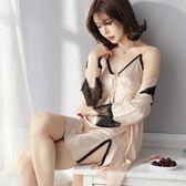 春秋性感睡衣女蕾絲吊帶睡裙睡袍兩件套夏季短袖薄款真絲 艾尚旗艦店