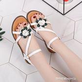 韓版低跟涼鞋女夏新款交叉綁帶羅馬鞋一字扣學生平底百搭涼鞋  時尚潮流