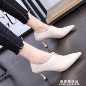 貓跟短靴女士皮面尖頭細跟裸靴2019春秋新款中跟高跟鞋女小跟單靴 果果輕時尚
