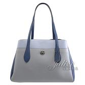 茱麗葉精品【專櫃款 全新現貨】COACH 89086 Lora 拼色牛皮三層肩背包.藍灰 大