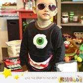 韓版趣味設計單眼怪獸厚長T 魔法Baby