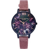 Olivia Burton 愛戀紫色花朵風手錶(OB16AD38)-珍珠貝面x紫色/38mm