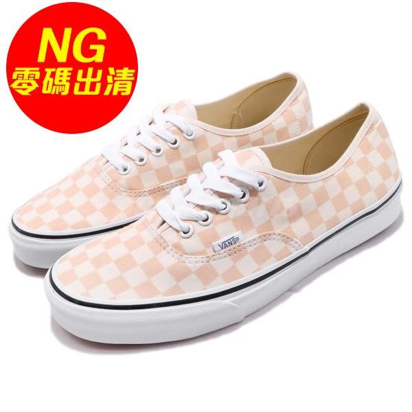 【US9.5-NG出清】Vans Authentic 左鞋面黃 基本款 橘 粉橘 經典格紋 滑板鞋 休閒鞋 男鞋【PUMP306】