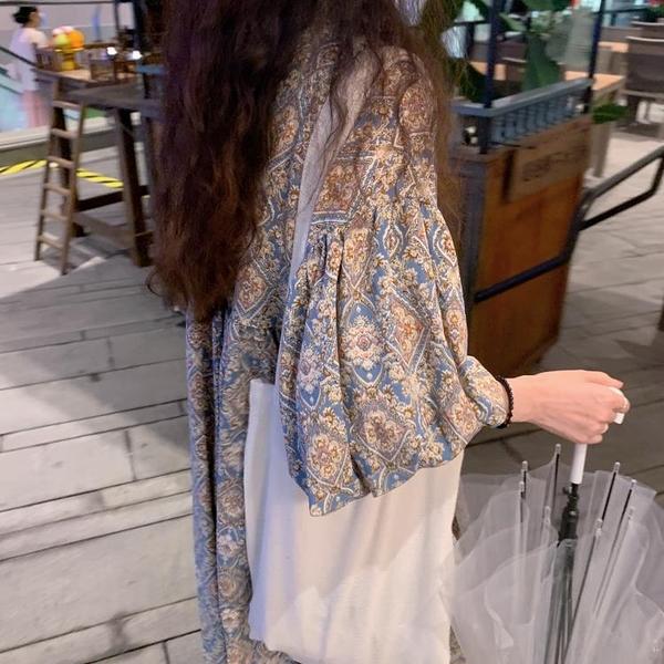 復古碎花遮肚子顯瘦氣質連身裙