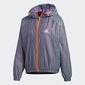 ADIDAS W C GLAM WB 女款灰X橘防風連帽運動外套-NO.GD4910