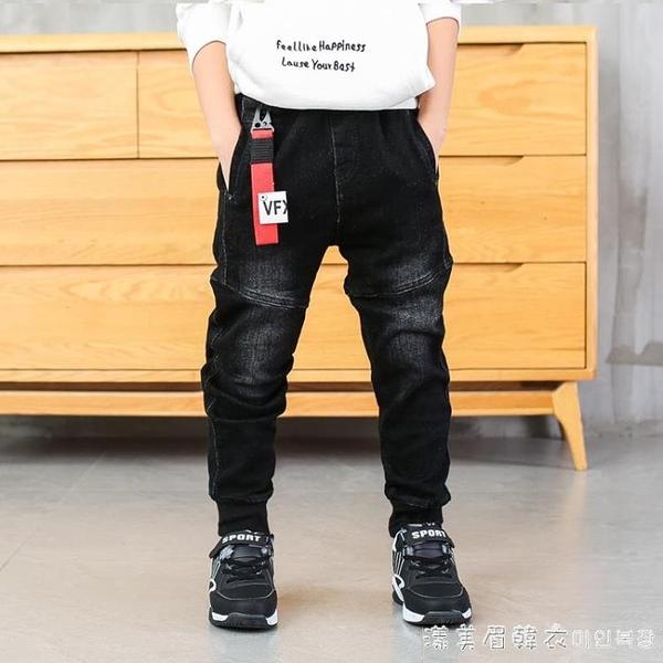 男童牛仔褲2021春秋裝新款兒童冬中大童黑色休閒褲子加絨加厚韓版 美眉新品