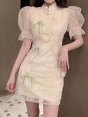 旗袍網紗泡泡袖改良旗袍復古連身裙夏季洋氣收腰顯瘦短款A字少女裙子 非凡小鋪