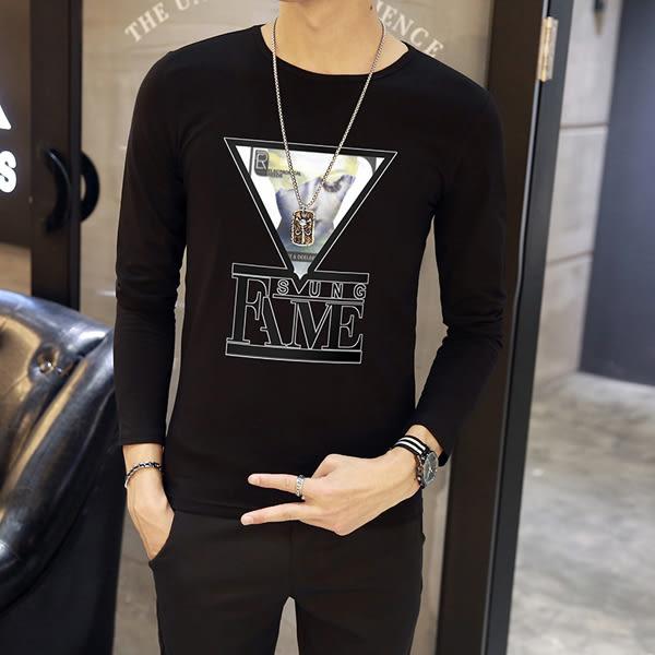 韓版T恤 男短t恤 男t恤 秋季長袖T恤男裝圓領上衣 韓版修身打底衫【非凡上品】cx581