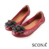 SCONA 蘇格南 全真皮 輕量舒適花飾娃娃鞋 暗紅色 31037-2